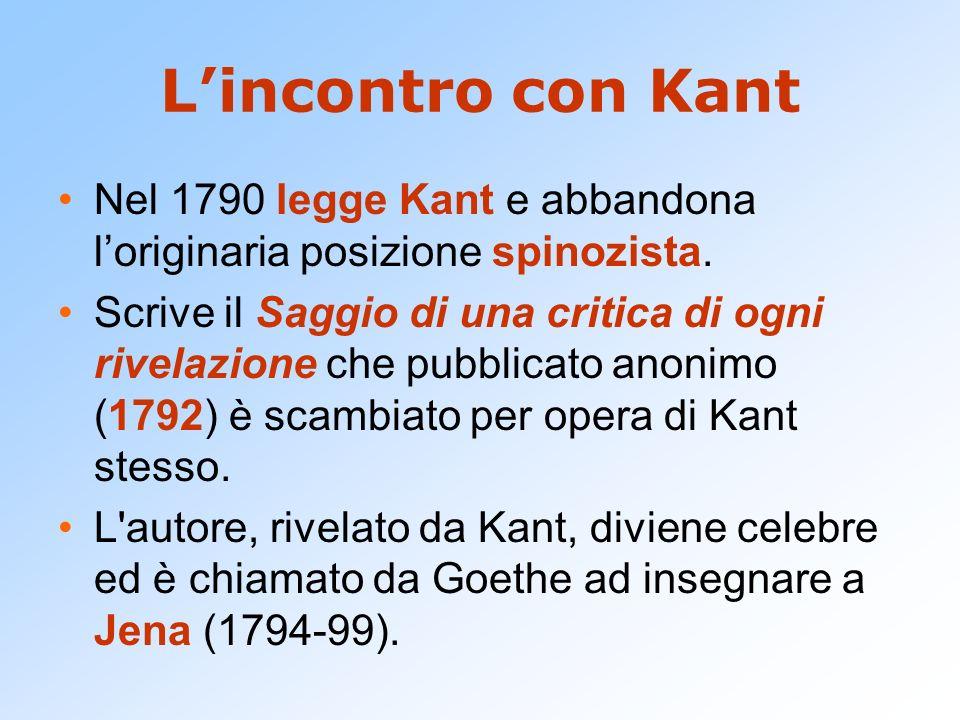L'incontro con Kant Nel 1790 legge Kant e abbandona l'originaria posizione spinozista.