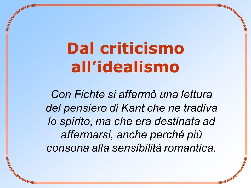 Dal criticismo all'idealismo