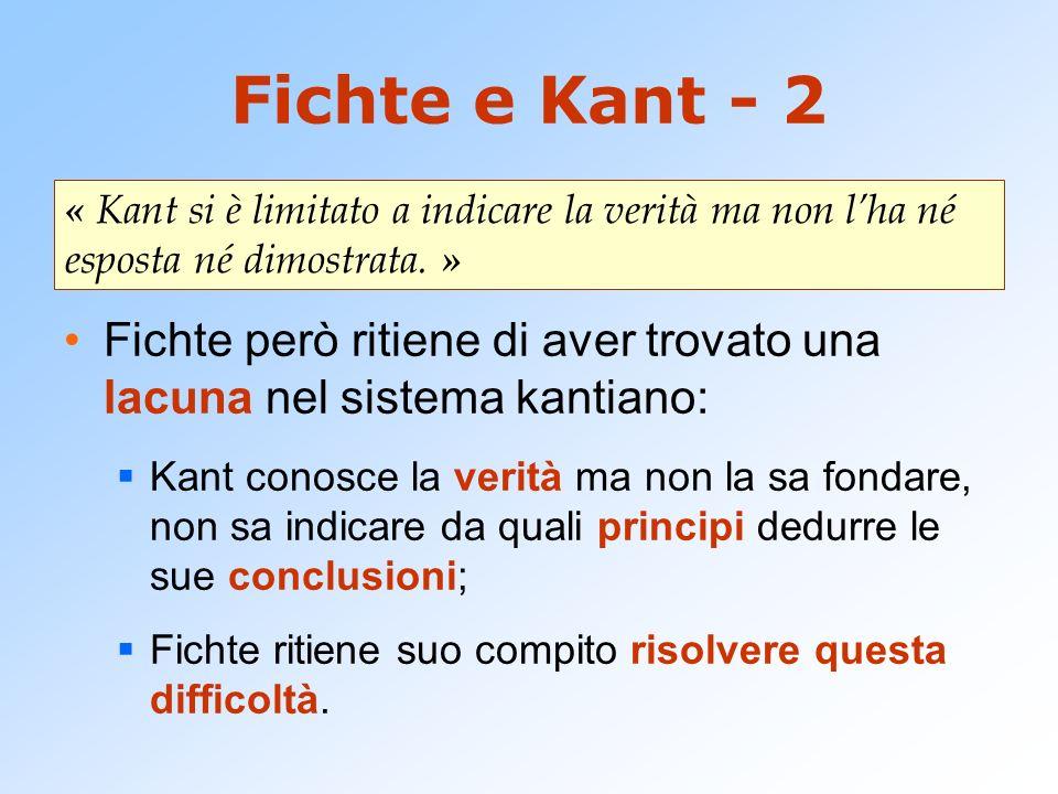 Fichte e Kant - 2 « Kant si è limitato a indicare la verità ma non l'ha né esposta né dimostrata. »