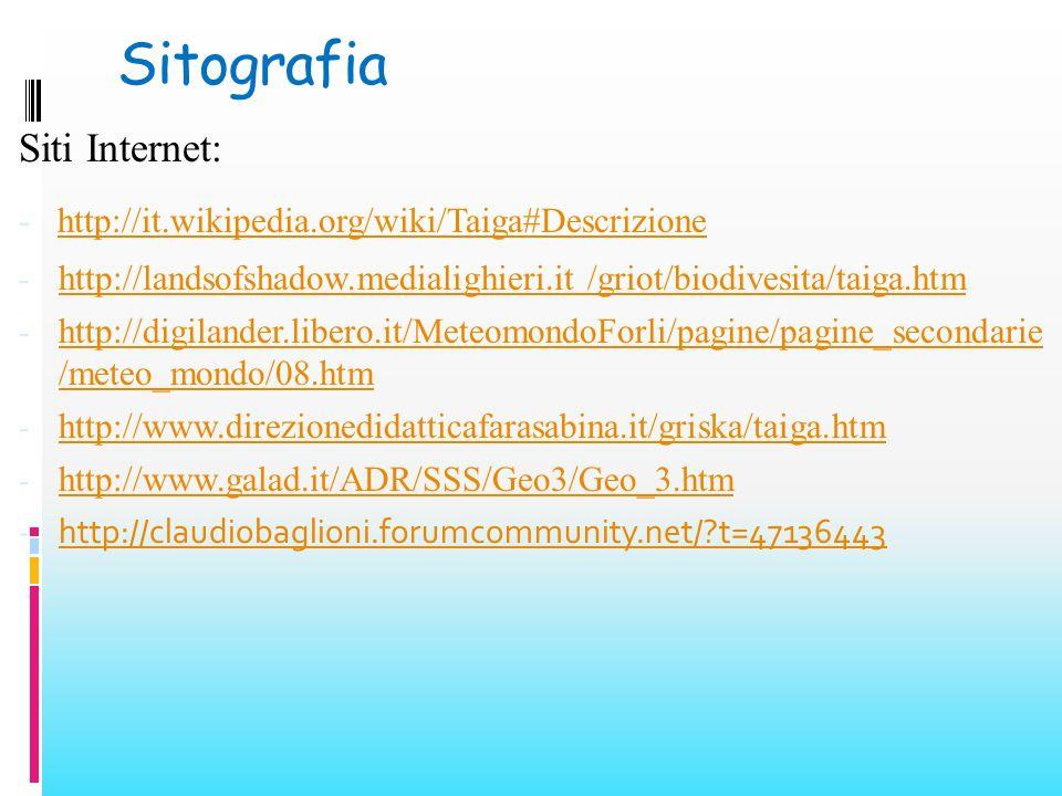 Sitografia Siti Internet: