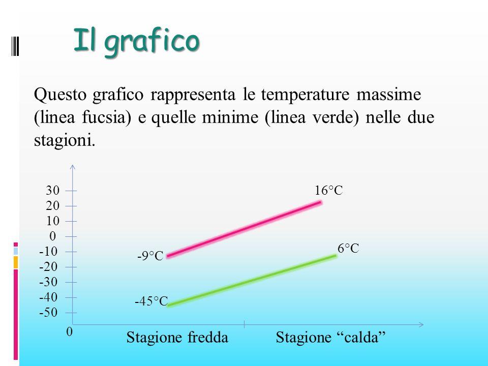 Il grafico Questo grafico rappresenta le temperature massime (linea fucsia) e quelle minime (linea verde) nelle due stagioni.