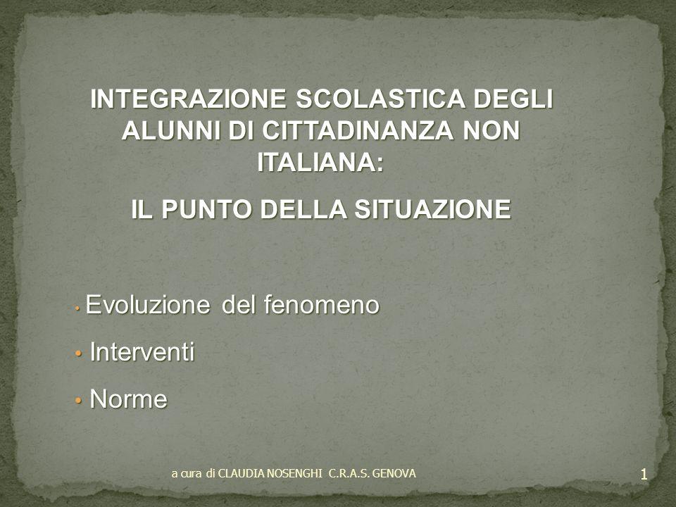 INTEGRAZIONE SCOLASTICA DEGLI ALUNNI DI CITTADINANZA NON ITALIANA: