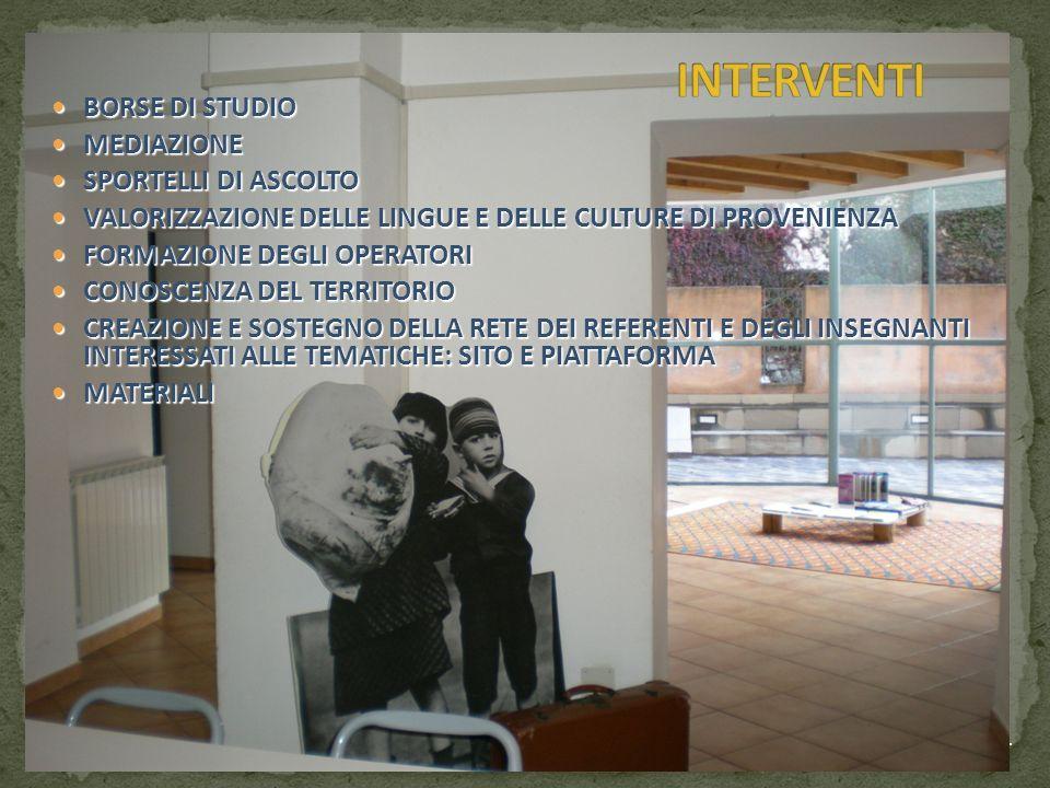 INTERVENTI BORSE DI STUDIO MEDIAZIONE SPORTELLI DI ASCOLTO
