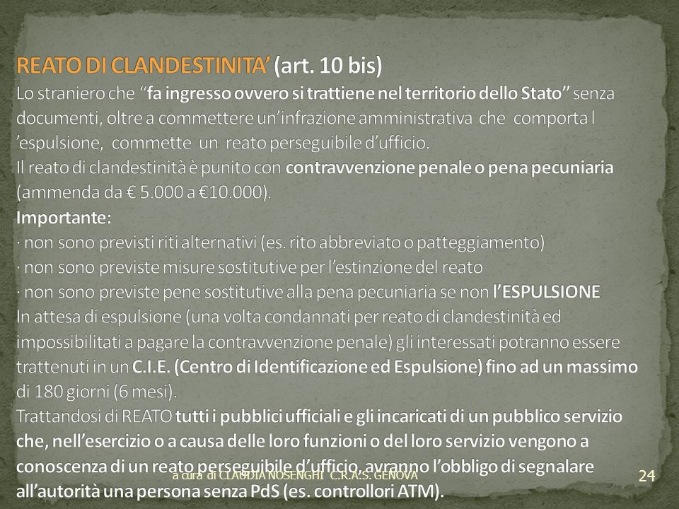 REATO DI CLANDESTINITA' (art