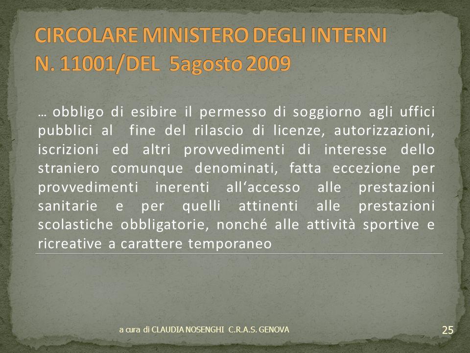 CIRCOLARE MINISTERO DEGLI INTERNI N. 11001/DEL 5agosto 2009