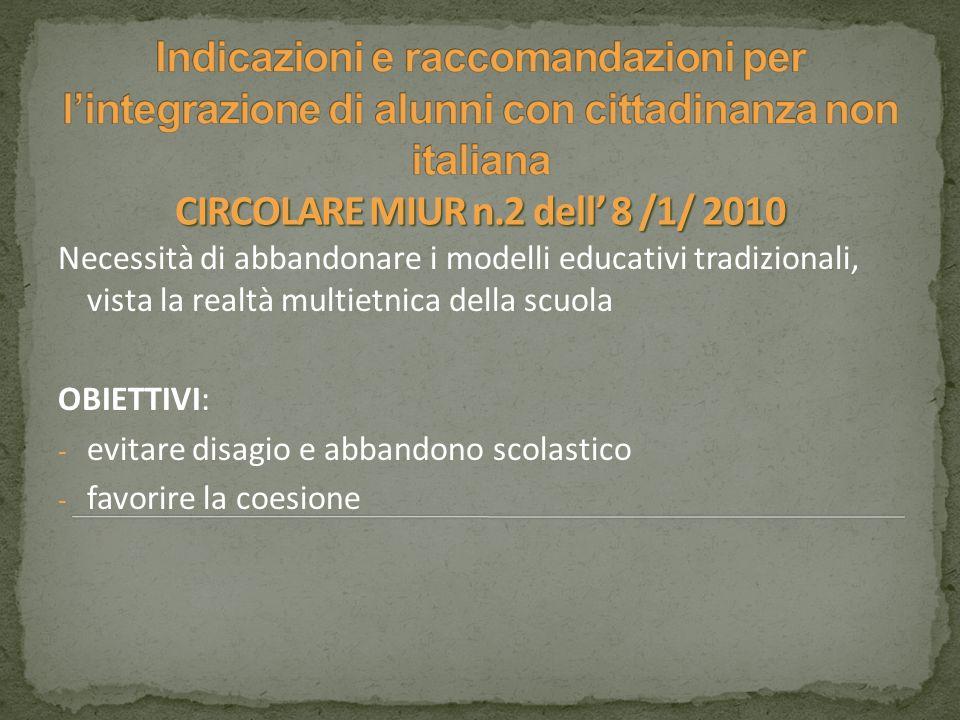 Indicazioni e raccomandazioni per l'integrazione di alunni con cittadinanza non italiana CIRCOLARE MIUR n.2 dell' 8 /1/ 2010