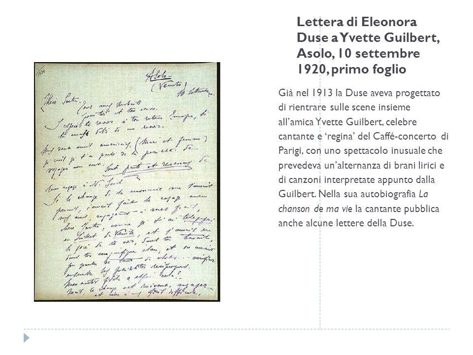 Lettera di Eleonora Duse a Yvette Guilbert, Asolo, 10 settembre 1920, primo foglio