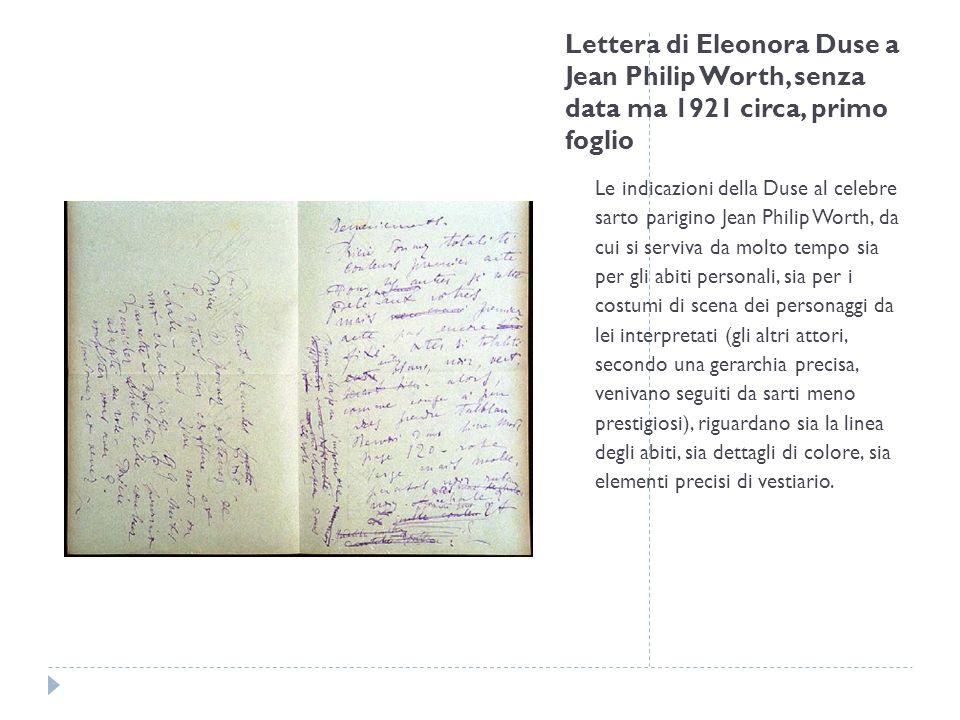 Lettera di Eleonora Duse a Jean Philip Worth, senza data ma 1921 circa, primo foglio