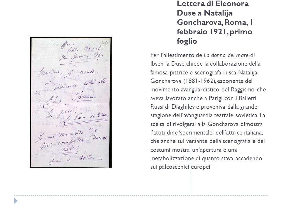 Lettera di Eleonora Duse a Natalija Goncharova, Roma, 1 febbraio 1921, primo foglio