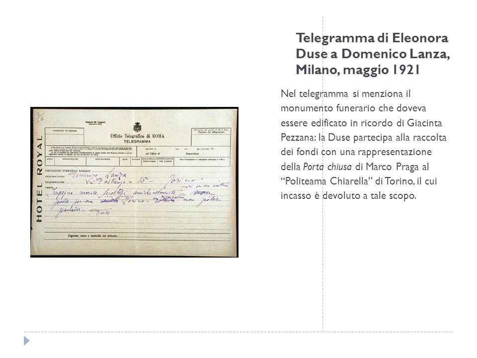 Telegramma di Eleonora Duse a Domenico Lanza, Milano, maggio 1921