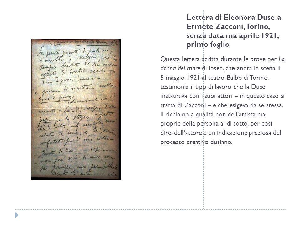 Lettera di Eleonora Duse a Ermete Zacconi, Torino, senza data ma aprile 1921, primo foglio