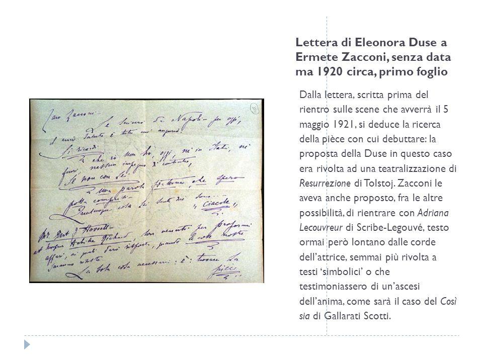 Lettera di Eleonora Duse a Ermete Zacconi, senza data ma 1920 circa, primo foglio
