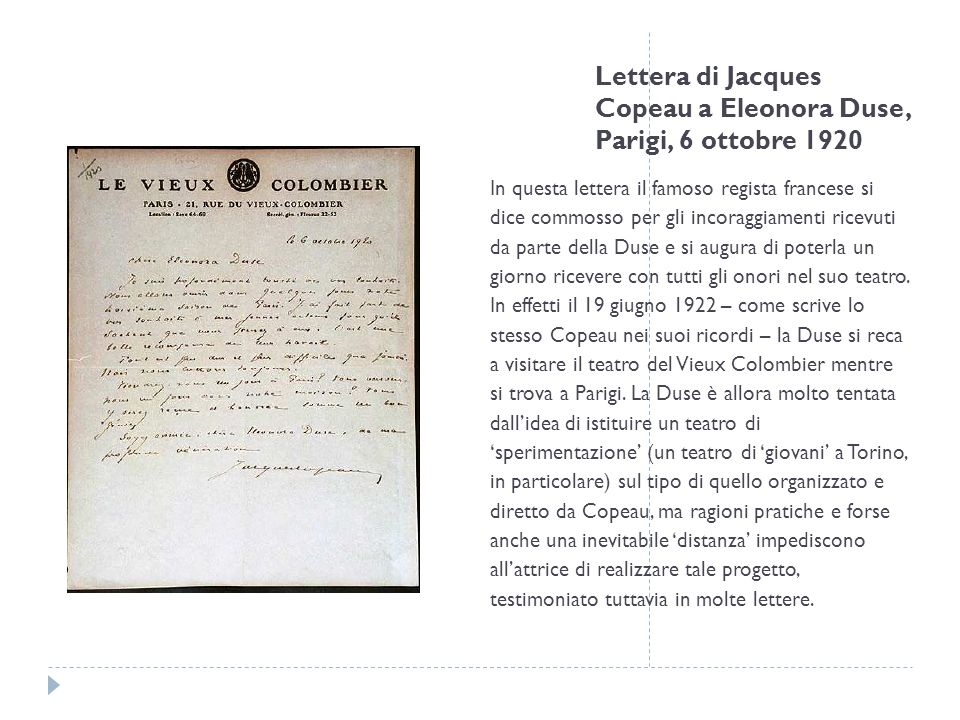 Lettera di Jacques Copeau a Eleonora Duse, Parigi, 6 ottobre 1920