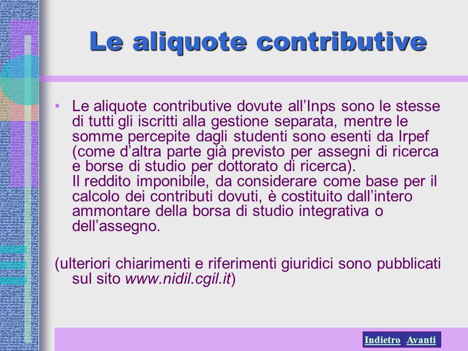 Le aliquote contributive