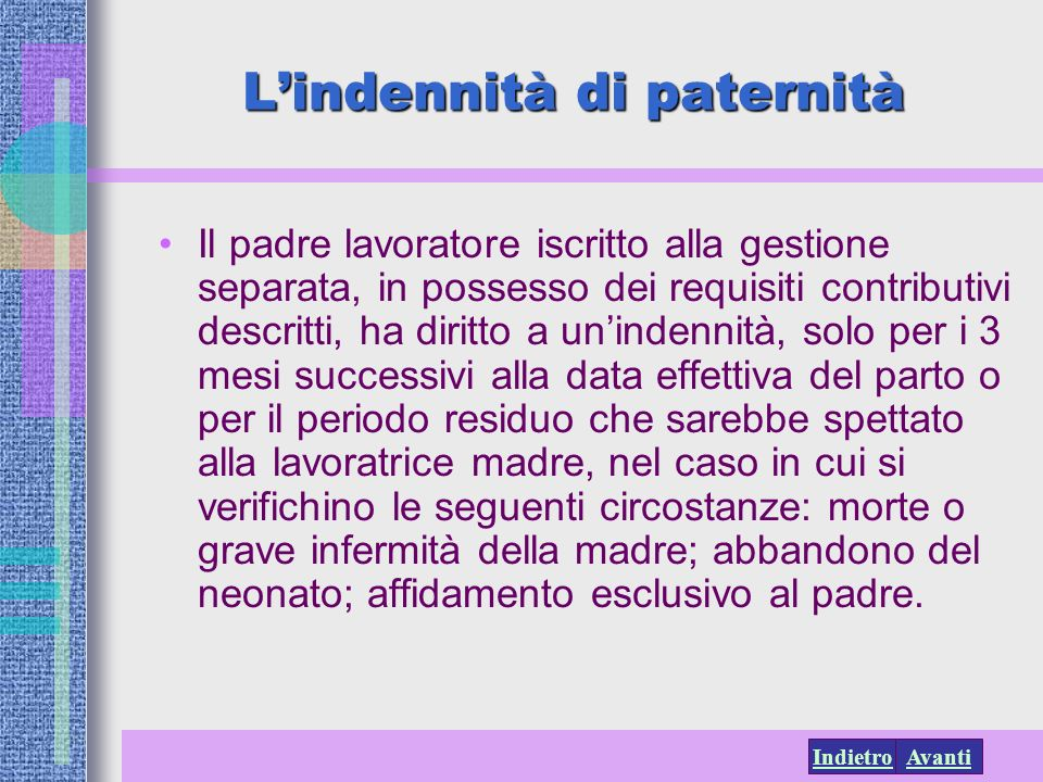L'indennità di paternità