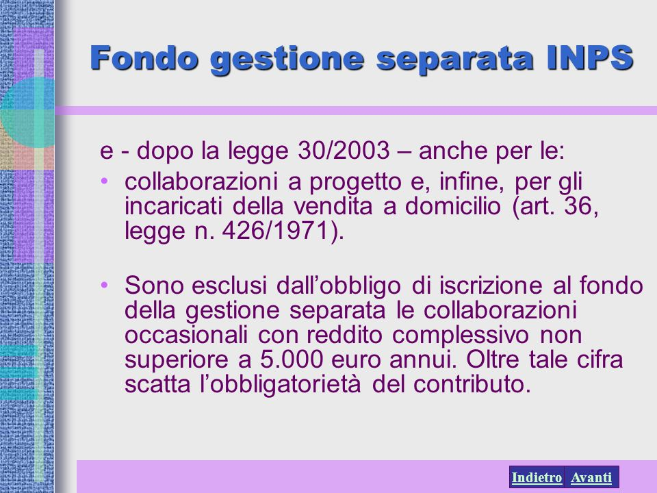 Fondo gestione separata INPS