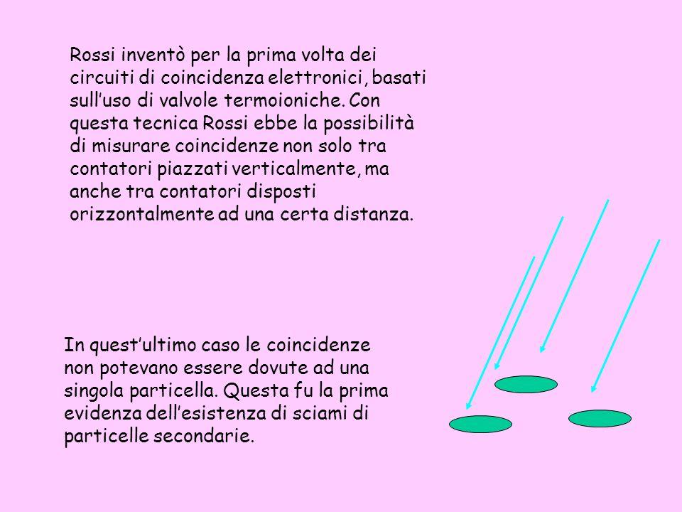 Rossi inventò per la prima volta dei circuiti di coincidenza elettronici, basati sull'uso di valvole termoioniche. Con questa tecnica Rossi ebbe la possibilità di misurare coincidenze non solo tra contatori piazzati verticalmente, ma anche tra contatori disposti orizzontalmente ad una certa distanza.
