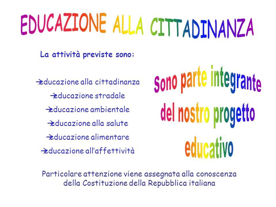 EDUCAZIONE ALLA CITTADINANZA La attività previste sono: