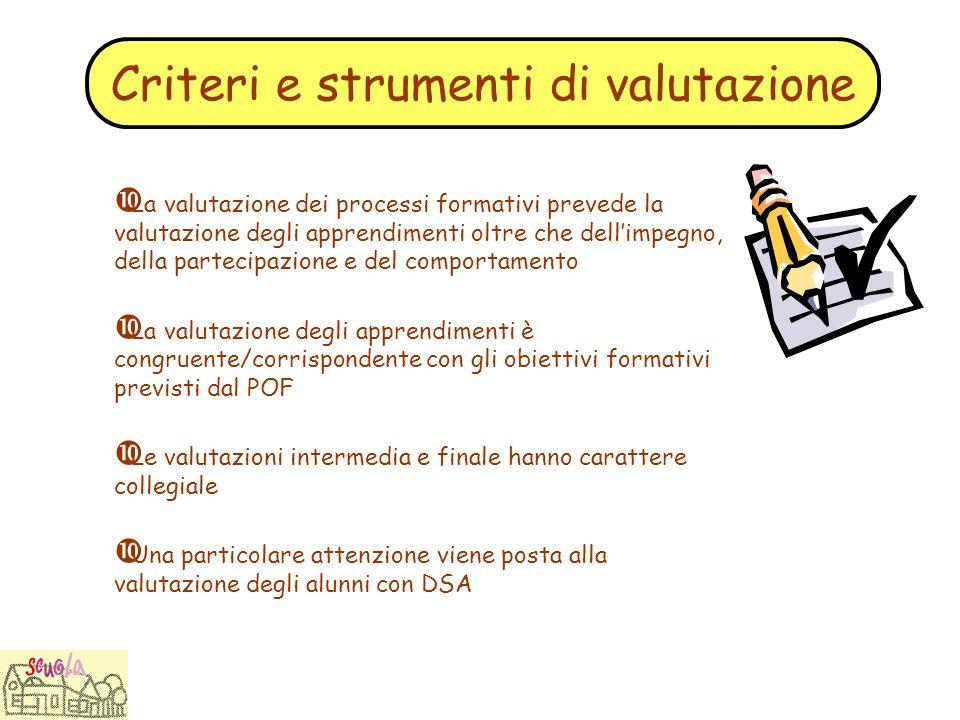 Criteri e strumenti di valutazione