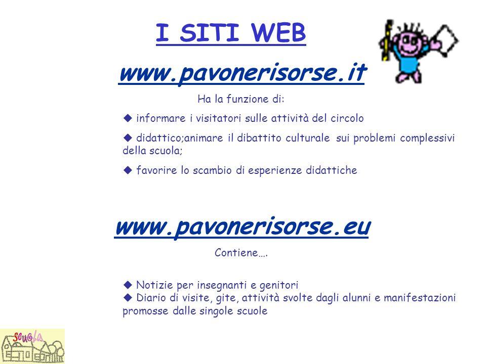 I SITI WEB www.pavonerisorse.it. Ha la funzione di:  informare i visitatori sulle attività del circolo.