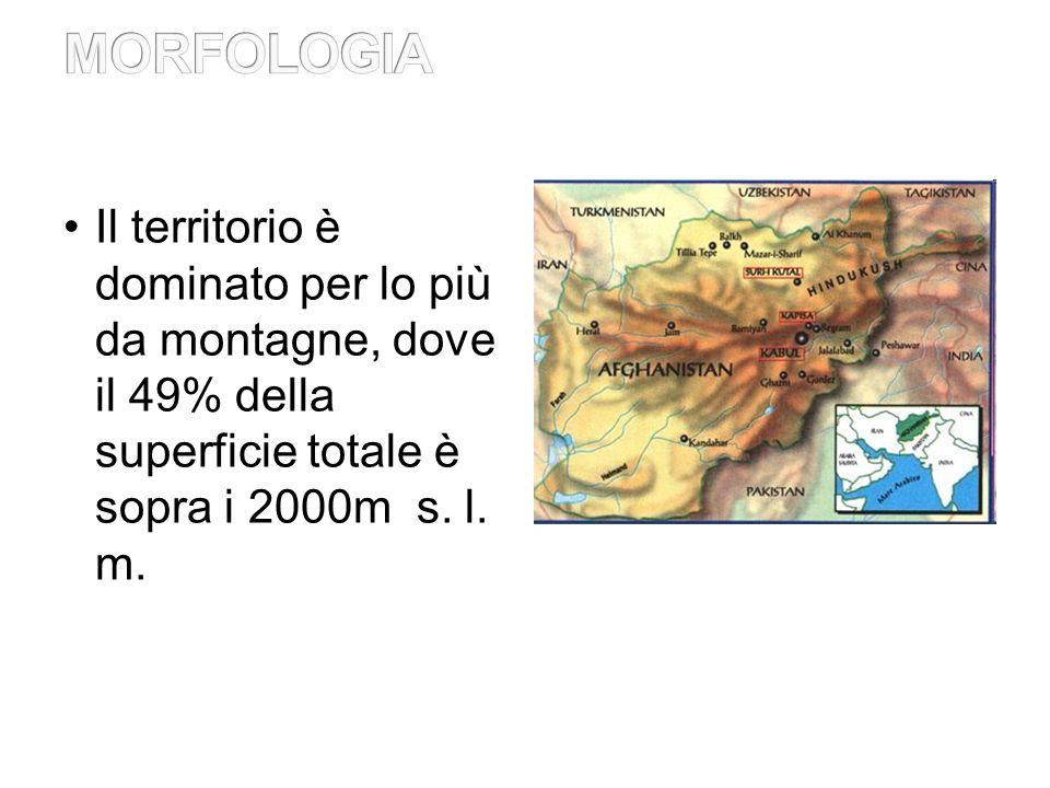 MORFOLOGIA Il territorio è dominato per lo più da montagne, dove il 49% della superficie totale è sopra i 2000m s.