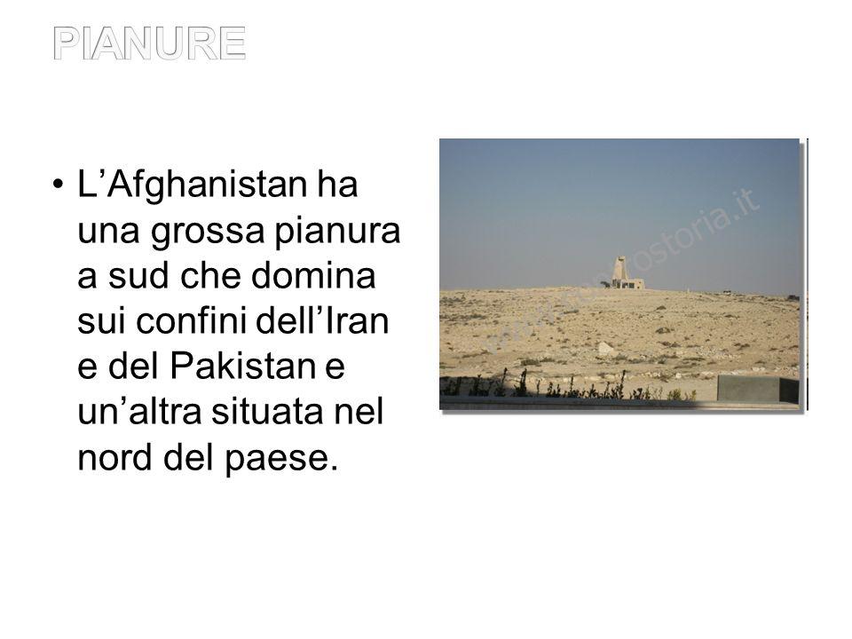 PIANURE L'Afghanistan ha una grossa pianura a sud che domina sui confini dell'Iran e del Pakistan e un'altra situata nel nord del paese.