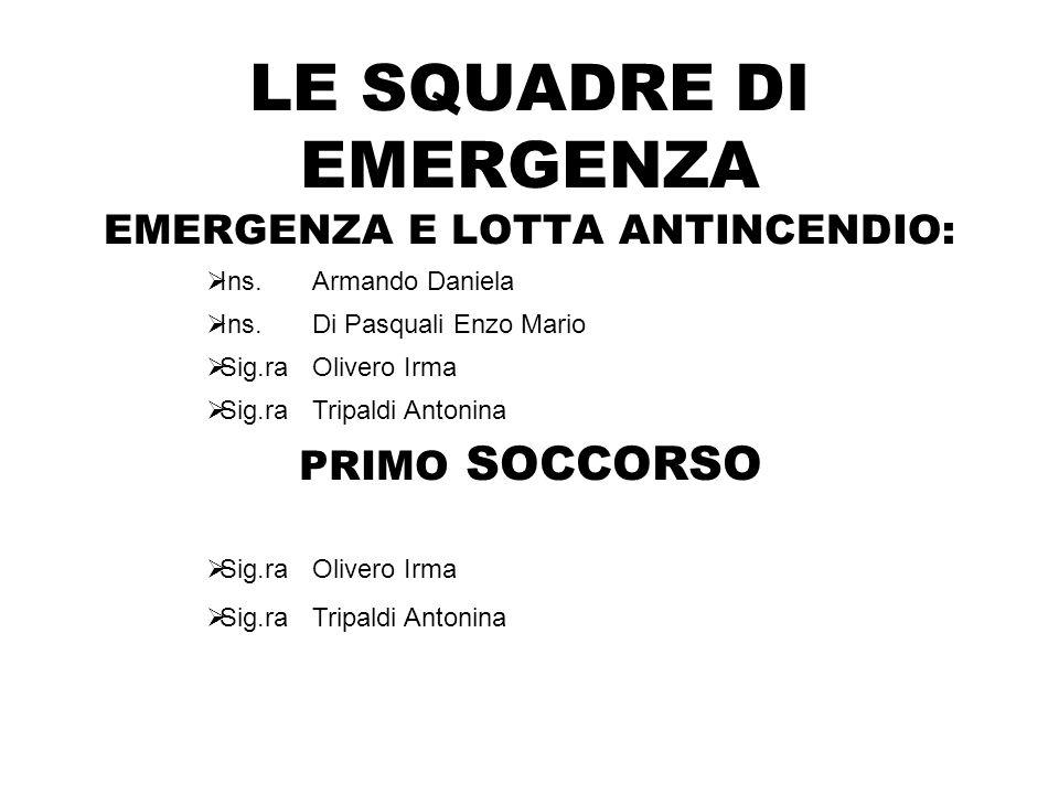 LE SQUADRE DI EMERGENZA EMERGENZA E LOTTA ANTINCENDIO: