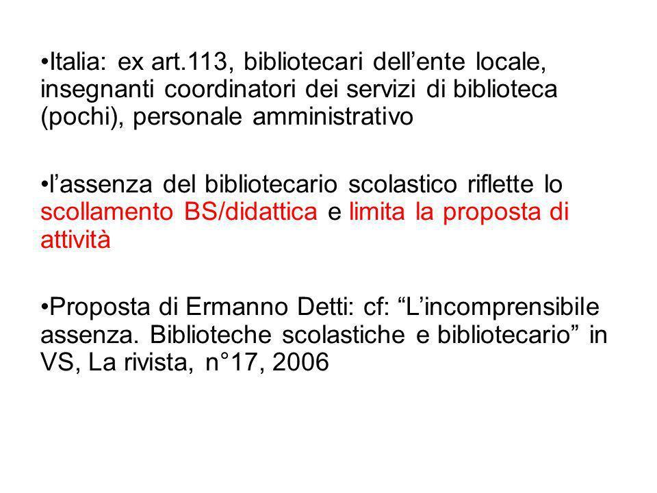 Italia: ex art.113, bibliotecari dell'ente locale, insegnanti coordinatori dei servizi di biblioteca (pochi), personale amministrativo