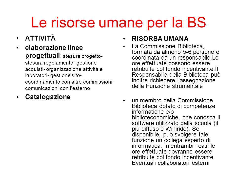 Le risorse umane per la BS