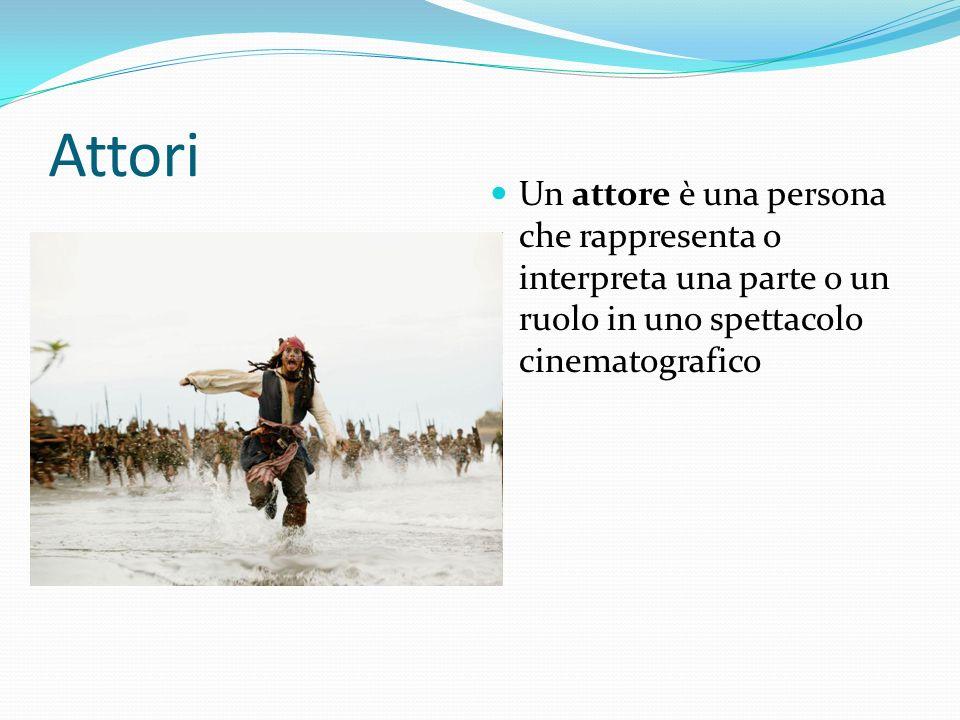 Attori Un attore è una persona che rappresenta o interpreta una parte o un ruolo in uno spettacolo cinematografico.