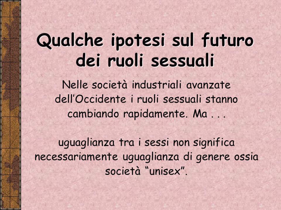 Qualche ipotesi sul futuro dei ruoli sessuali
