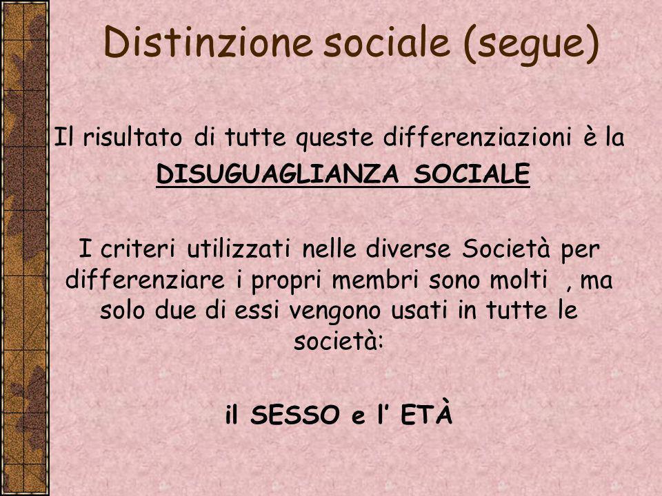 Distinzione sociale (segue)