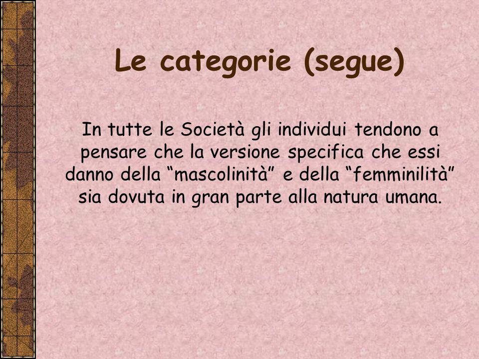 Le categorie (segue)