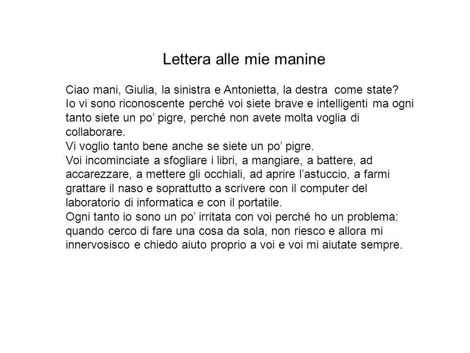 Lettera alle mie manine