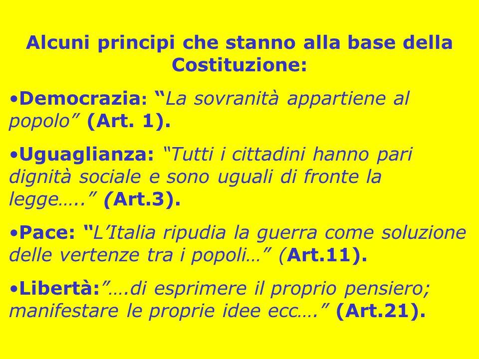 Alcuni principi che stanno alla base della Costituzione: