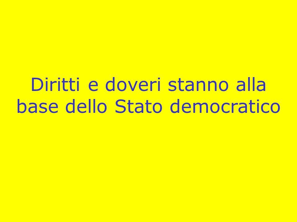 Diritti e doveri stanno alla base dello Stato democratico