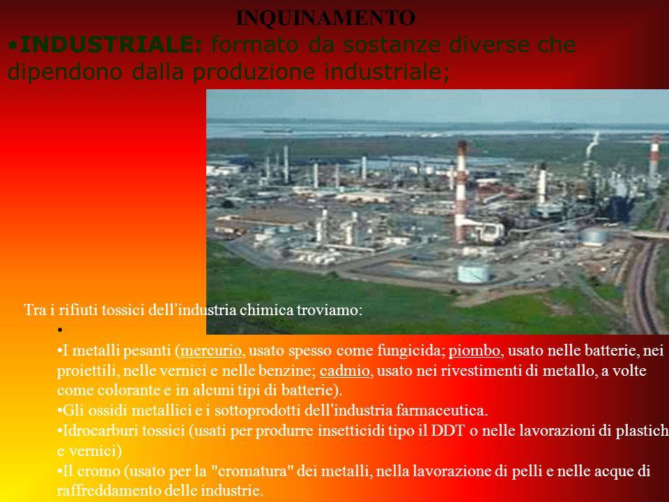 INQUINAMENTO INDUSTRIALE: formato da sostanze diverse che dipendono dalla produzione industriale;