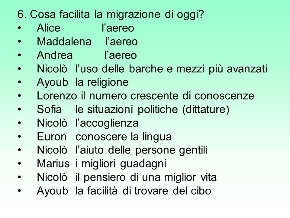 6. Cosa facilita la migrazione di oggi
