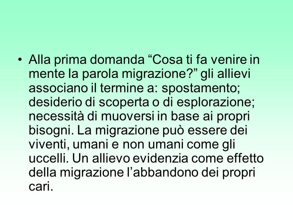 Alla prima domanda Cosa ti fa venire in mente la parola migrazione