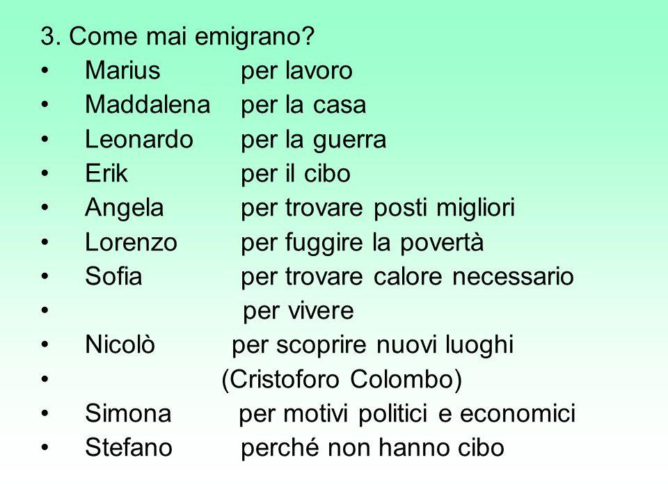3. Come mai emigrano Marius per lavoro. Maddalena per la casa. Leonardo per la guerra. Erik per il cibo.