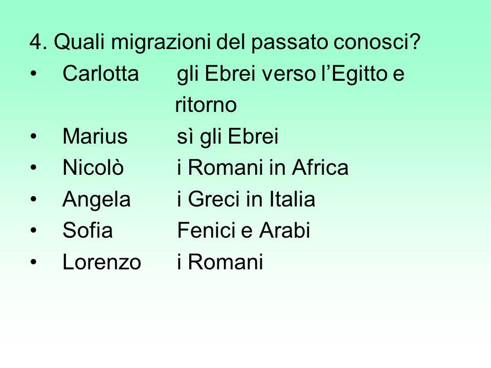 4. Quali migrazioni del passato conosci
