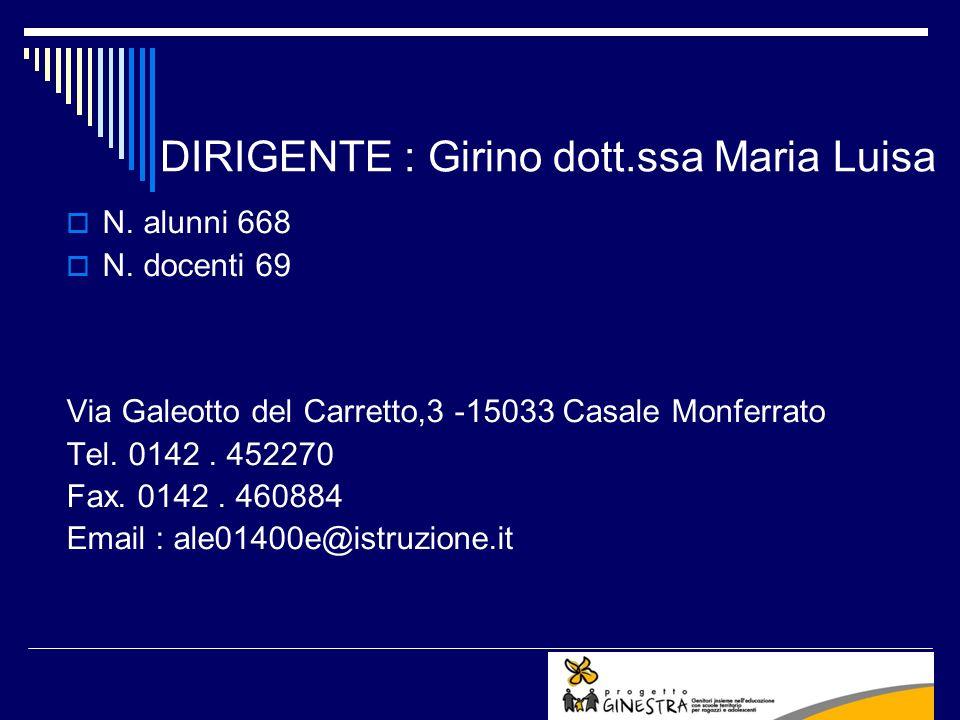 DIRIGENTE : Girino dott.ssa Maria Luisa