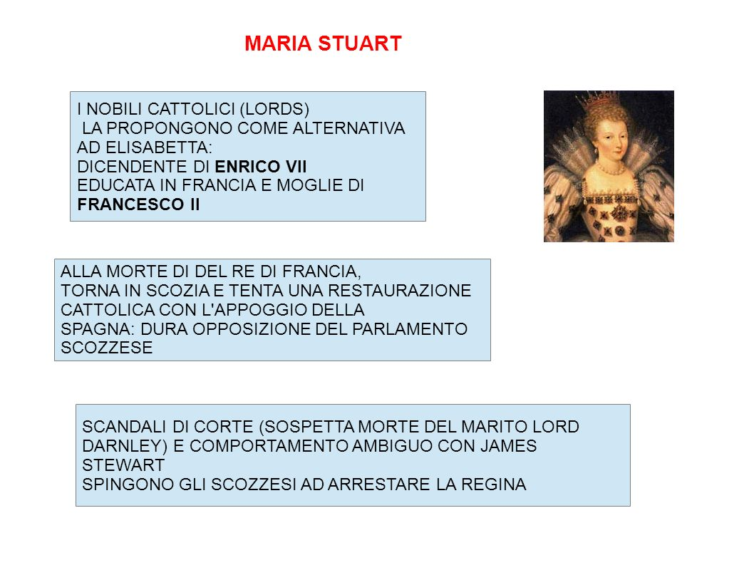 MARIA STUART I NOBILI CATTOLICI (LORDS) LA PROPONGONO COME ALTERNATIVA