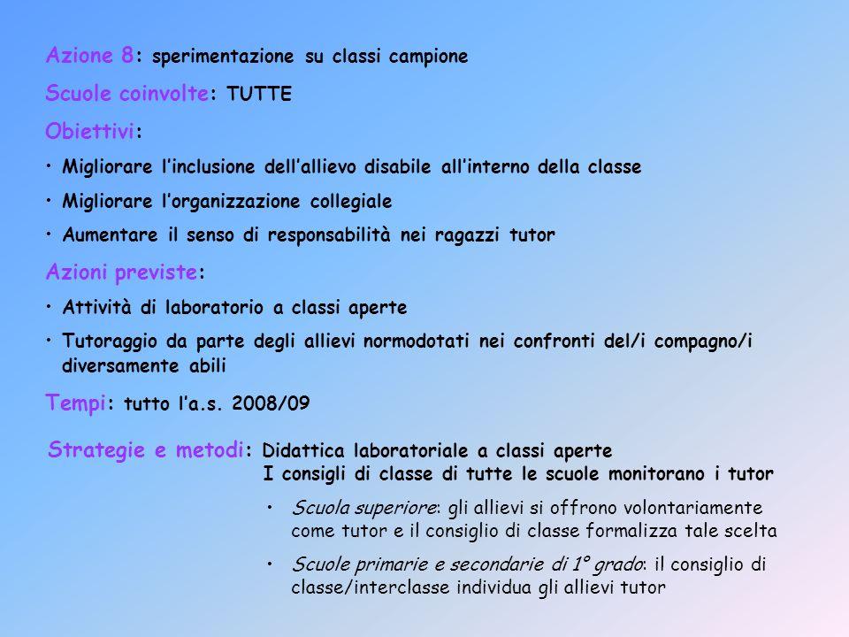 Azione 8: sperimentazione su classi campione Scuole coinvolte: TUTTE