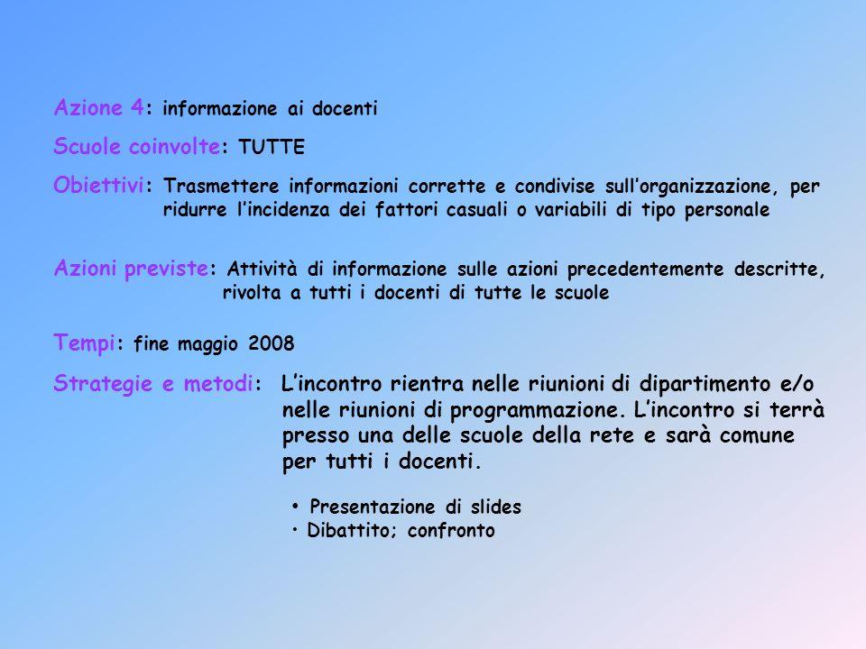 Azione 4: informazione ai docenti Scuole coinvolte: TUTTE