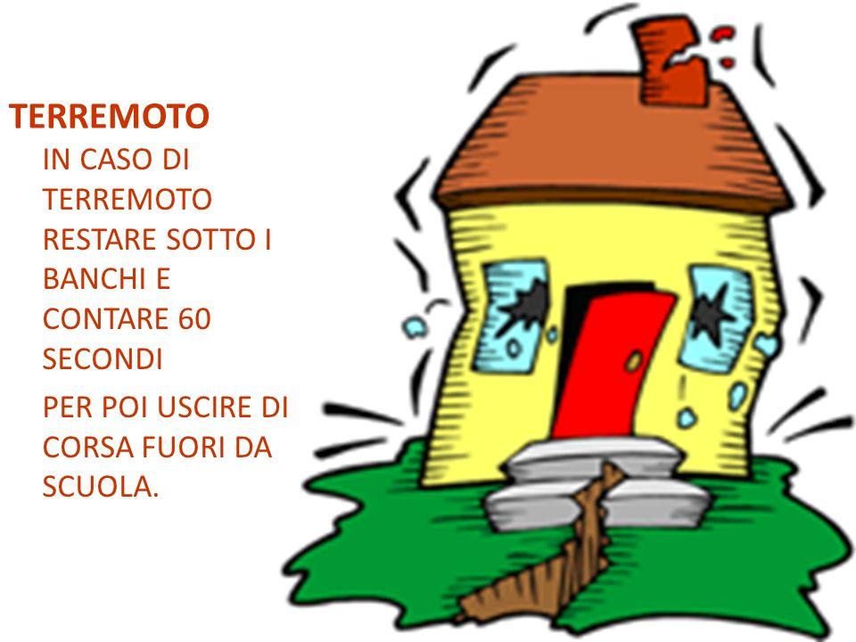 TERREMOTO IN CASO DI TERREMOTO RESTARE SOTTO I BANCHI E CONTARE 60 SECONDI.