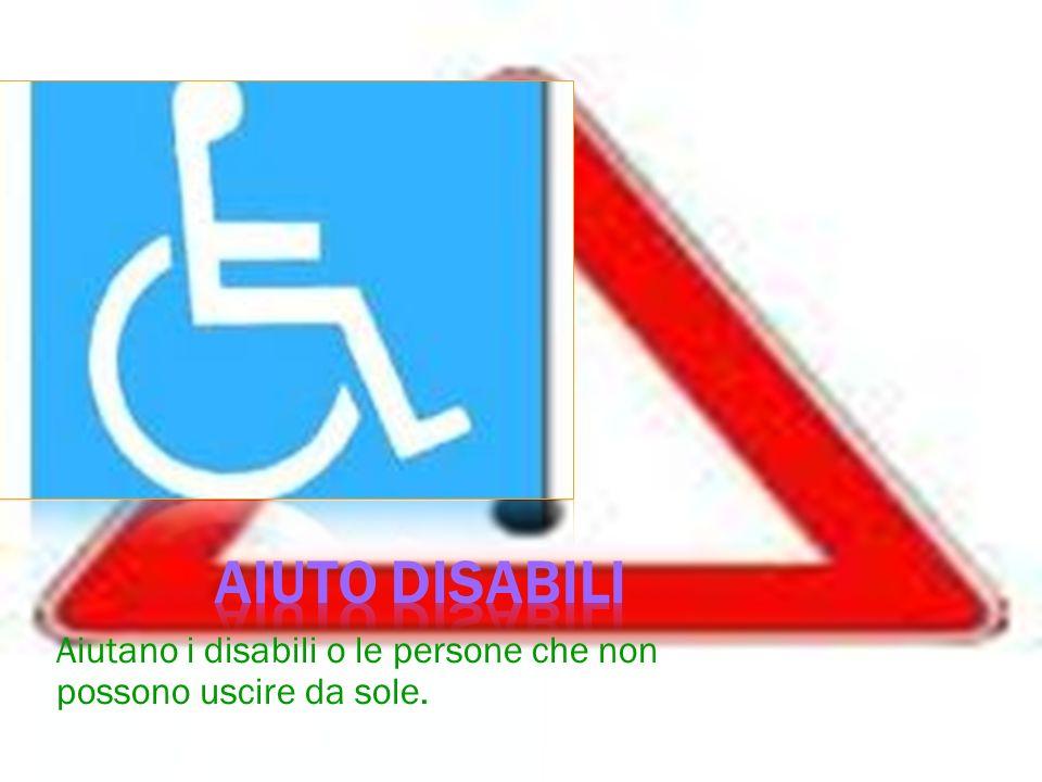 Aiuto disabili Aiutano i disabili o le persone che non possono uscire da sole.