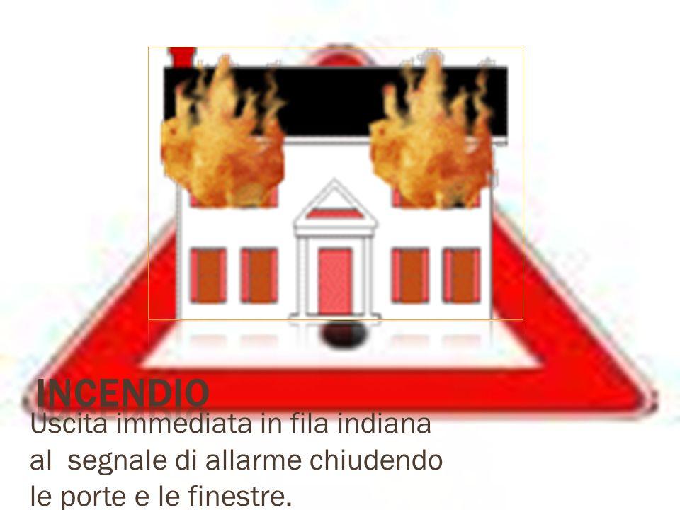 Incendio Uscita immediata in fila indiana al segnale di allarme chiudendo le porte e le finestre.