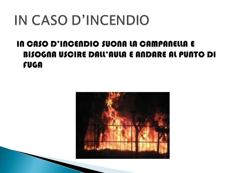 IN CASO D'INCENDIO IN CASO D'INCENDIO SUONA LA CAMPANELLA E BISOGNA USCIRE DALL'AULA E ANDARE AL PUNTO DI FUGA.