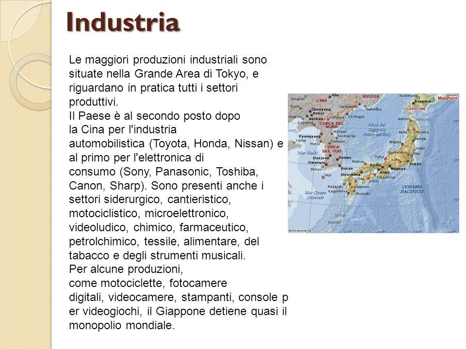 Industria Le maggiori produzioni industriali sono situate nella Grande Area di Tokyo, e riguardano in pratica tutti i settori produttivi.